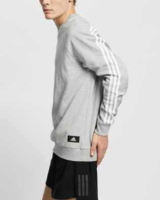 adidas Performance Sportswear 3 Stripes Sweatshirt - Crew Necks (Medium Grey Heather)