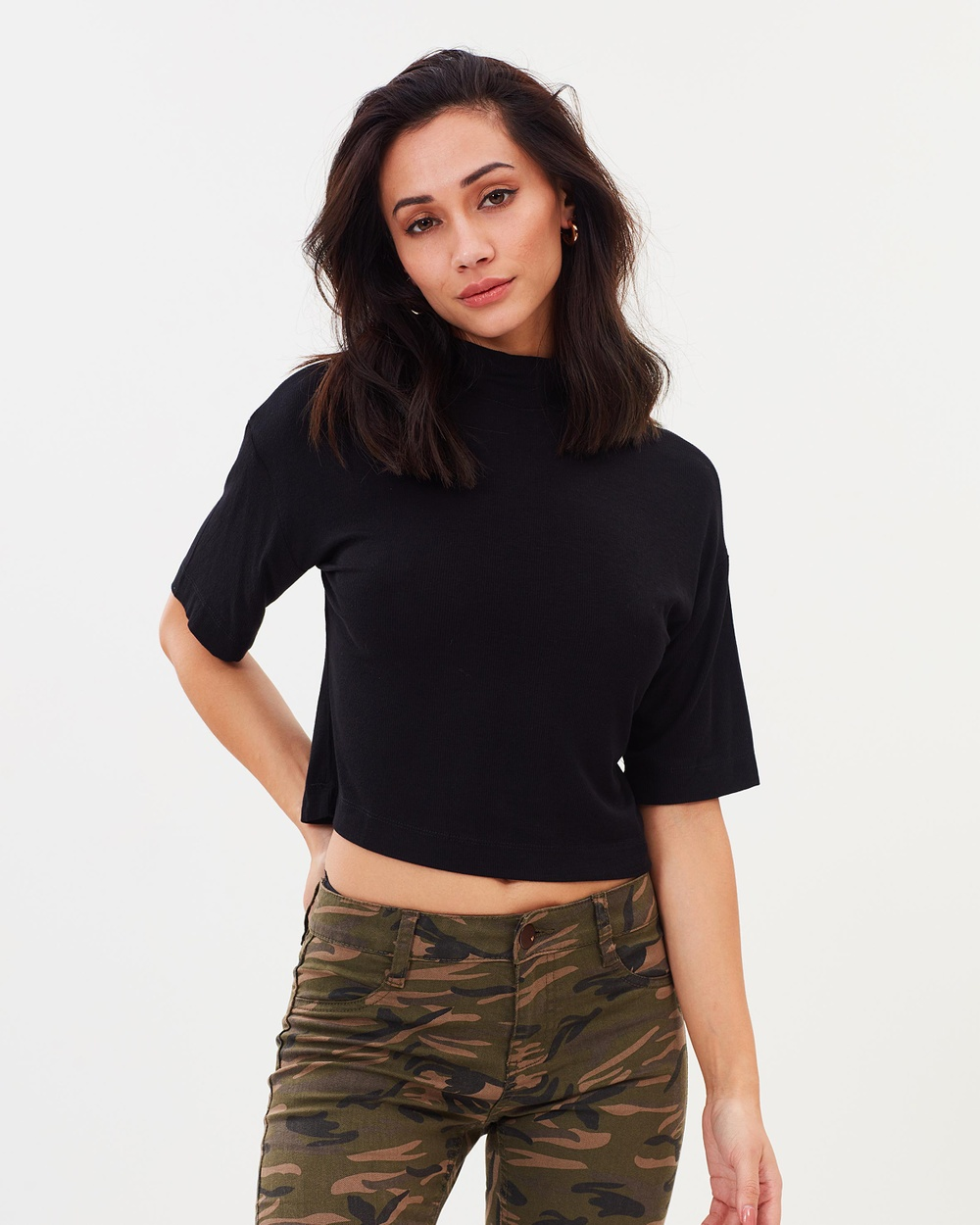 Cotton On Renee Mock Neck Rib Tee Cropped tops Black Renee Mock Neck Rib Tee