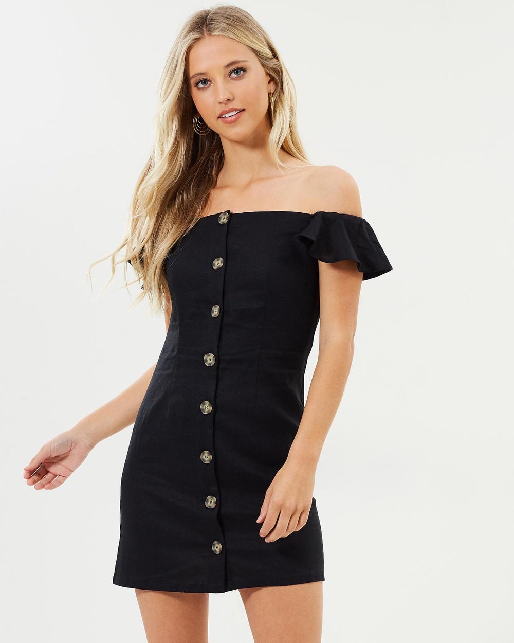 Miss Selfridge Button Bardot Dress Dresses Black Button Bardot Dress