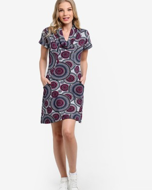 BoyFromBlighty – Wrap Collar Printed Knit Dress – Printed Dresses Grey, Blue and Maroon Print