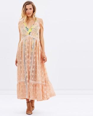 Free People – Shine On Midi Dress Peach
