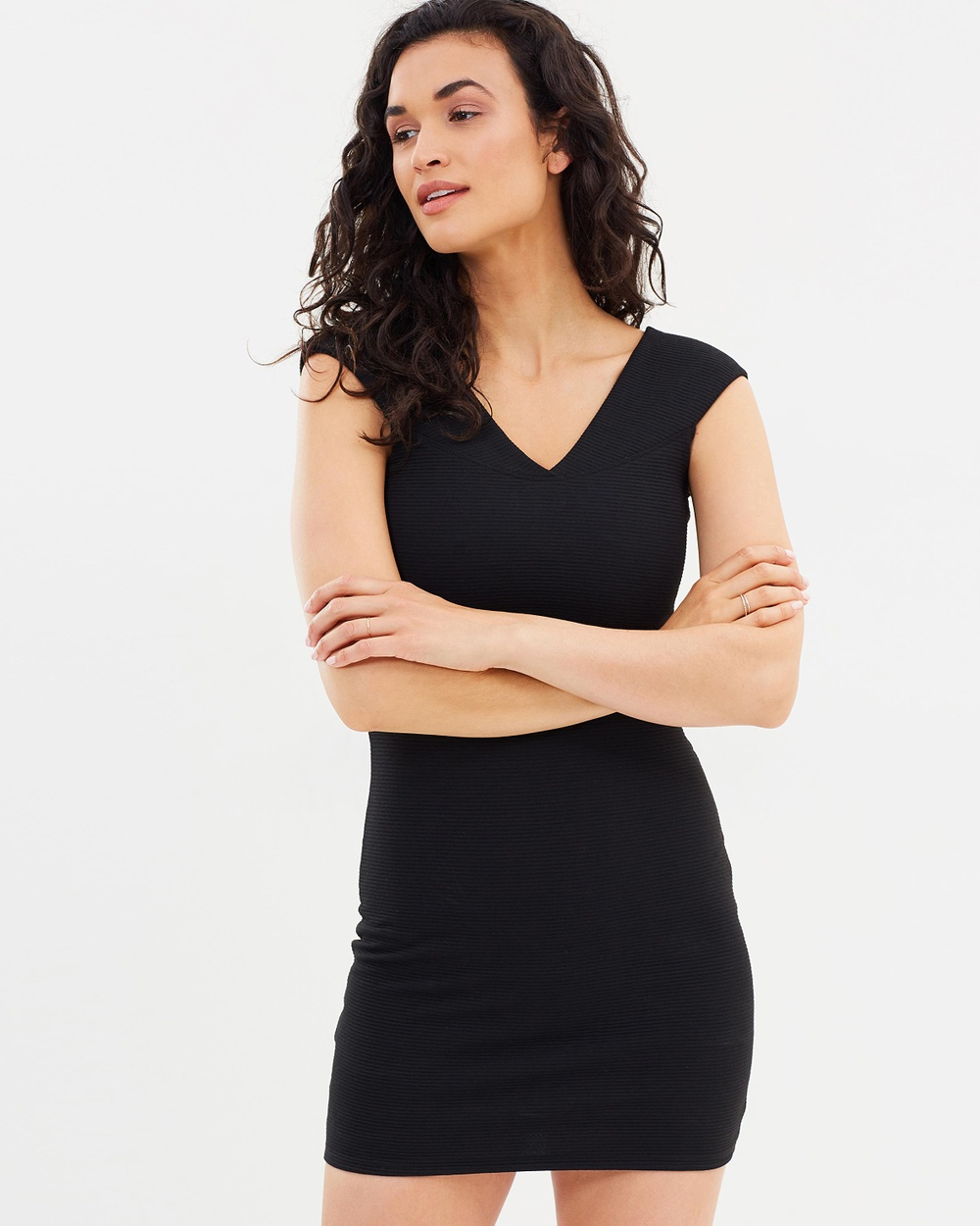 M.N.G Fitted Textured Dress Bodycon Dresses Black Fitted Textured Dress