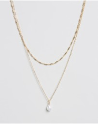 TOPSHOP - Pearl Drop 2-Row Necklace