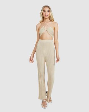 Alice In The Eve Josie Lurex Rib Pants - Pants (GOLD)