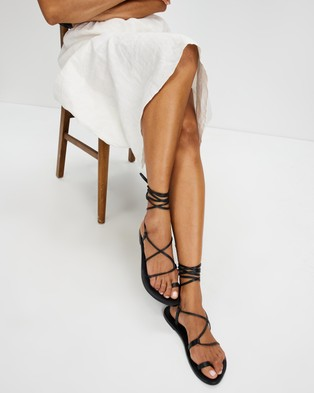 AERE Ankle Tie Leather Sandals - Sandals (Black Leather)