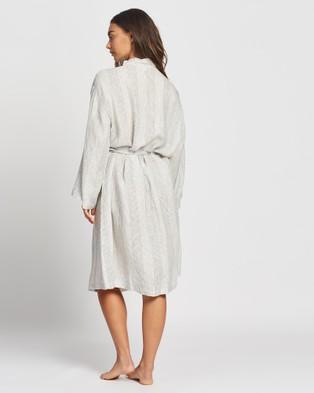 Papinelle Resort Linen Robe - Sleepwear (Stripe)