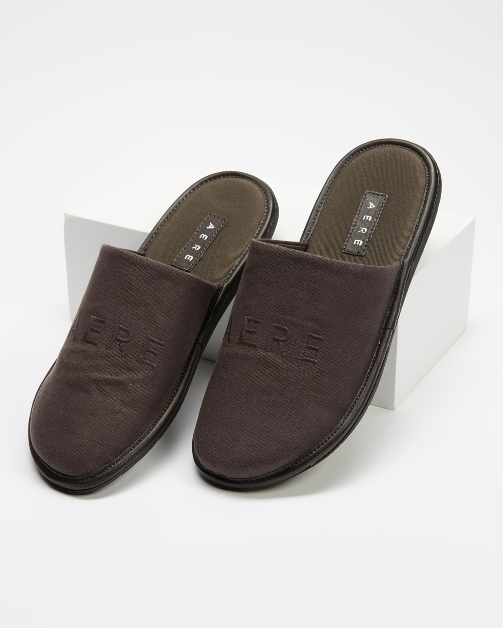 AERE Organic Canvas Embroidered Slippers & Accessories Charcoal