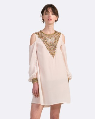 Coco Ribbon – Embellished Dress with Cut Out Shoulders – Dresses (Blush)