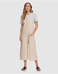 Roxy - Womens Naturally Pretty Strappy Linen Jumpsuit