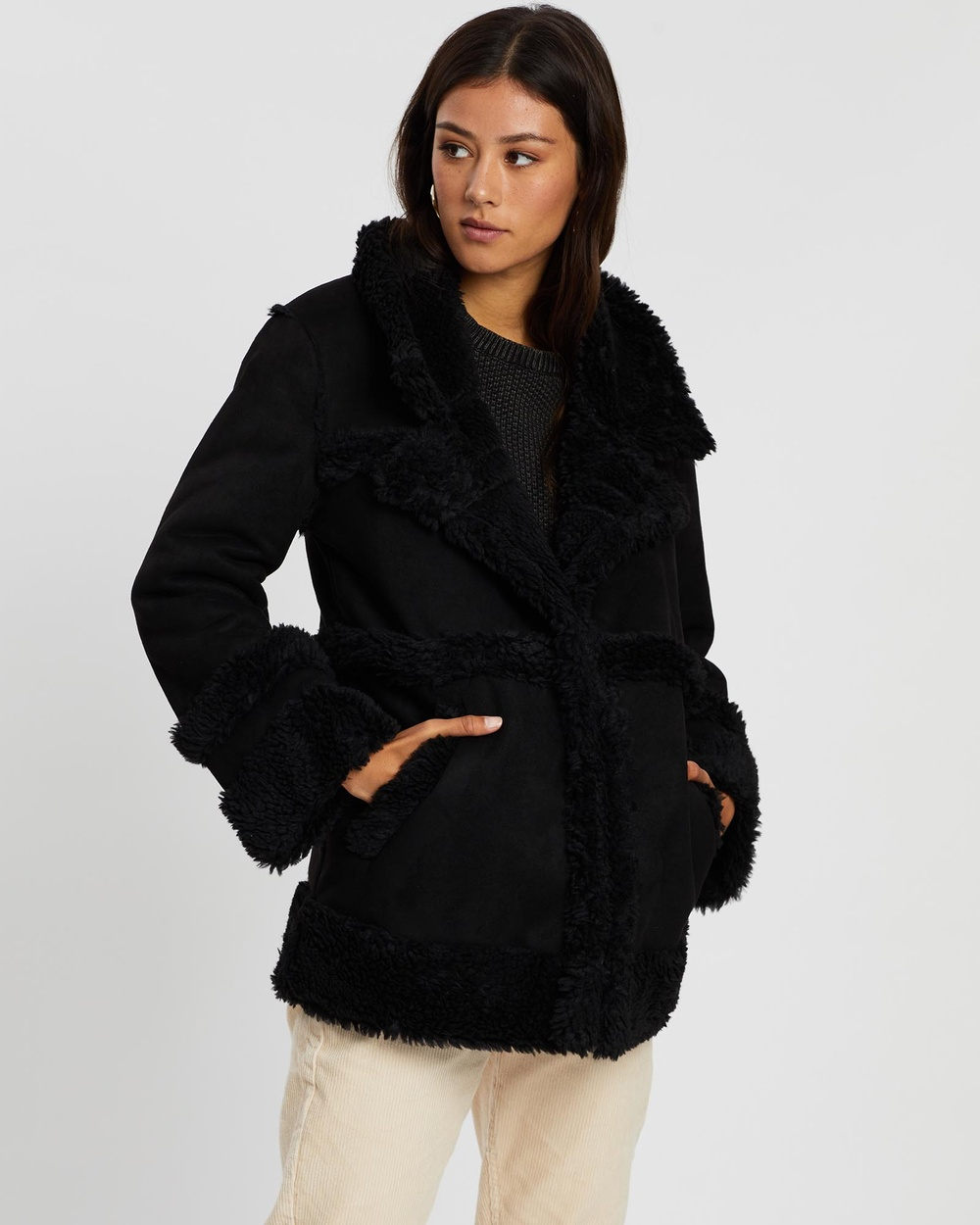 All About Eve 70s Shearling Jacket Coats & Jackets BLACK