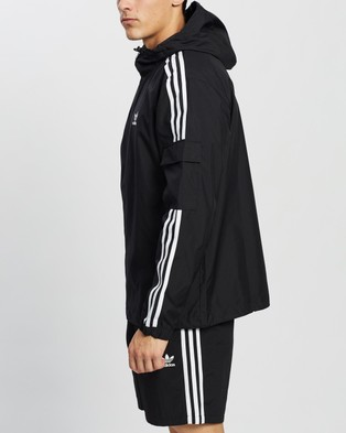 adidas Originals Adicolor Classics 3 Stripes Full Zip Windbreaker - Coats & Jackets (Black)