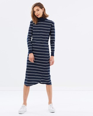 Casa Amuk – Twist Seam Turtle Neck Midi Indian Blue Stripe