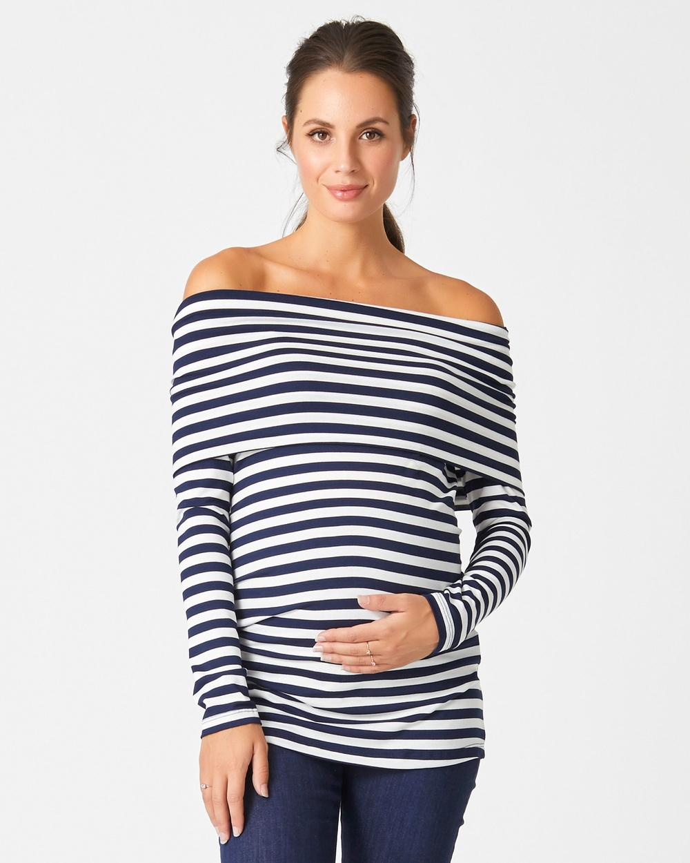 Pea in a Pod Maternity Arden Stripe Feeding Knit Tops Navy Stripe Arden Stripe Feeding Knit