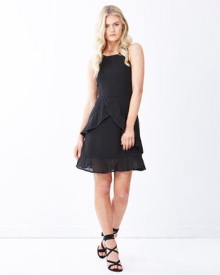 Calli – Kaia Ruffle Mini Dress Black