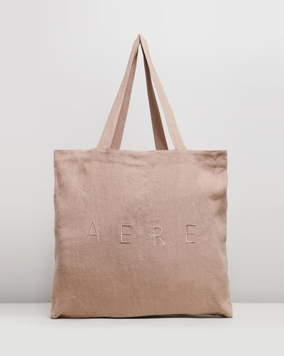 Oversized Embroidered Linen Tote Bag