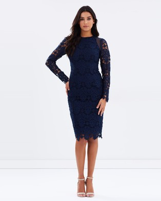 Ministry of Style – Cross Section Mesh Detail Midi Dress Navy