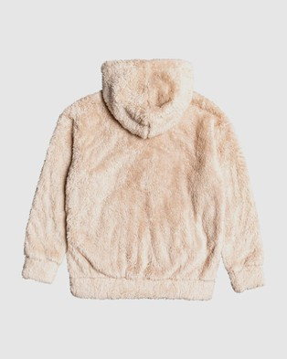 Roxy Girls 4 14 Sunny Anyway Oversized Zip Up Sherpa Hoodie - Hoodies (Natural)