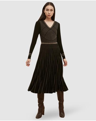 Ginger & Smart Meridian Knit Dress Black Gold