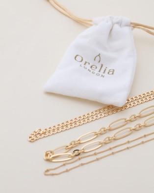Orelia London Satellite Oval Flat Curb Layered Necklace - Jewellery (Pale Gold)