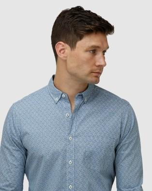 Brooksfield Geo Print Casual Shirt - Casual shirts (Teal)