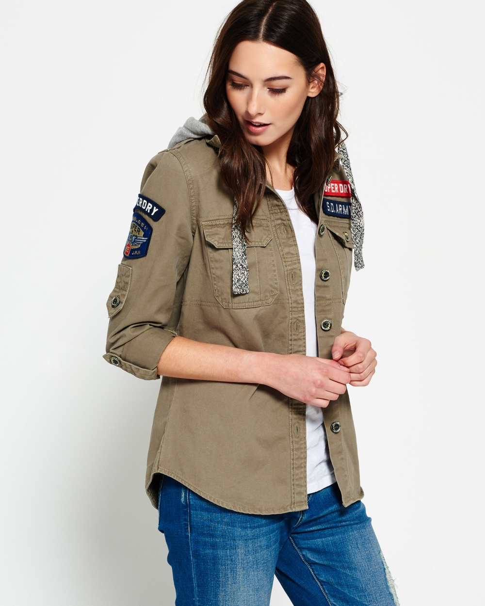 Superdry Washed Twill Military Shirt Tops ARMY GREEN Washed Twill Military Shirt