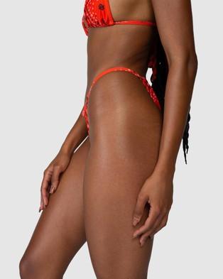 Jagger & Stone Ruby String Hi Leg Bottoms - Bikini Bottoms (Red Bandana)
