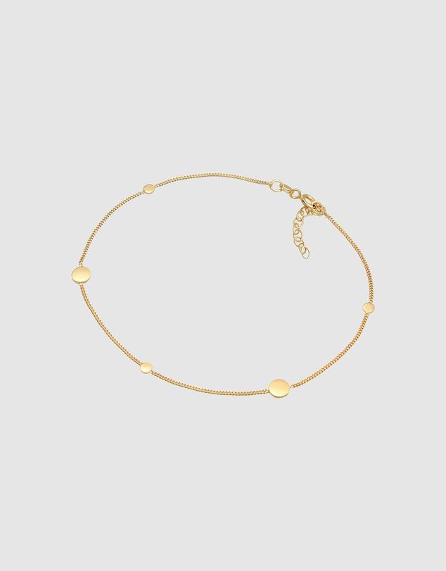 Women Anklet Coin Trend Timeless Adjustable in 925 Sterling Silver Gold Plated
