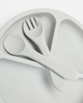 Cotton On Baby Silicone Plate Cutlery Set - Home (Grey)