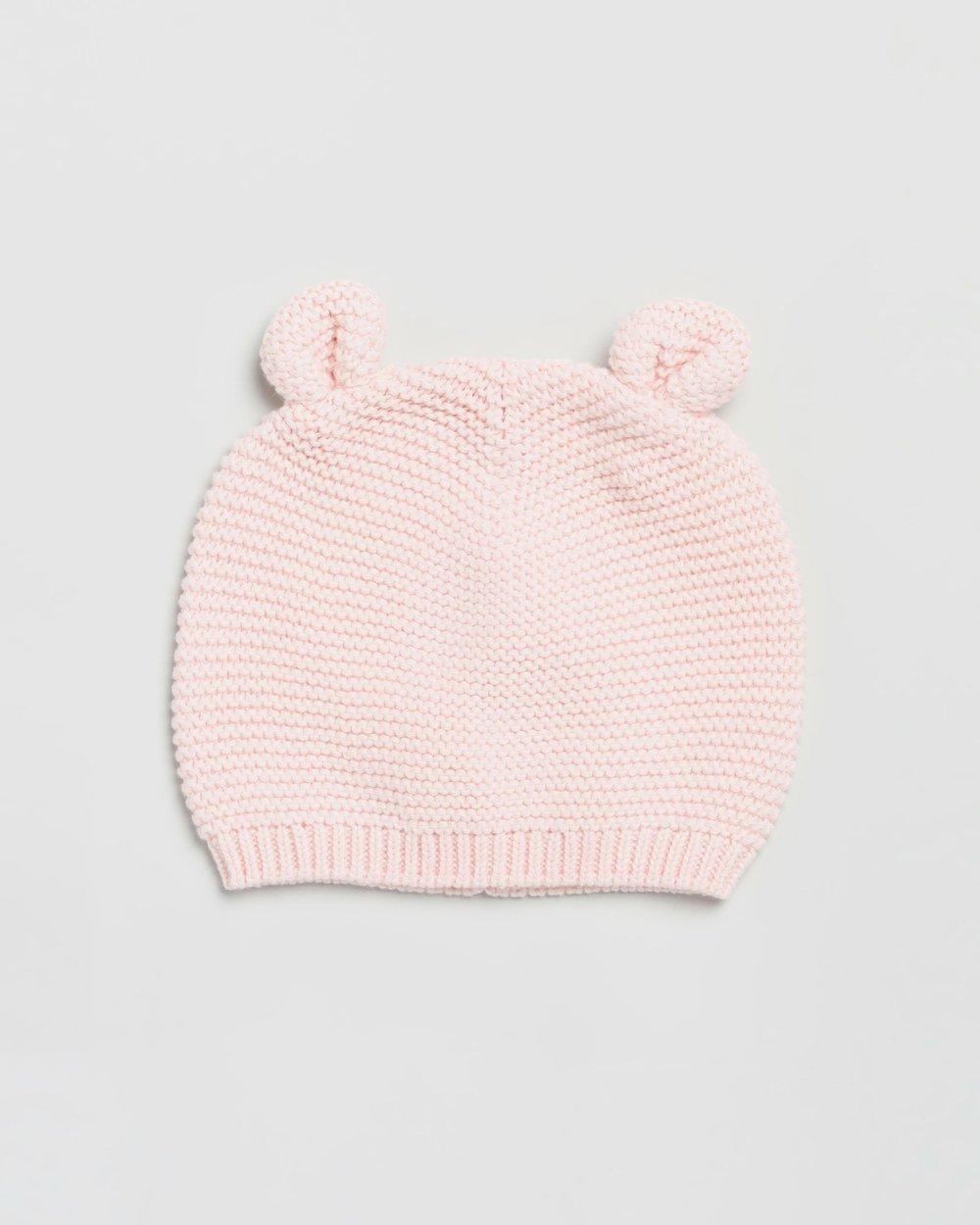Animal Garter Knit Sweater Hat w//Ears GAP Baby Girl Size 0-3 Months Pink Bear