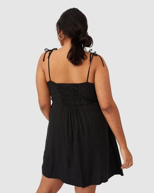 Cotton On Curve Woven Hannah Strappy Mini Dress - Printed Dresses (Tiffany Spot Black)