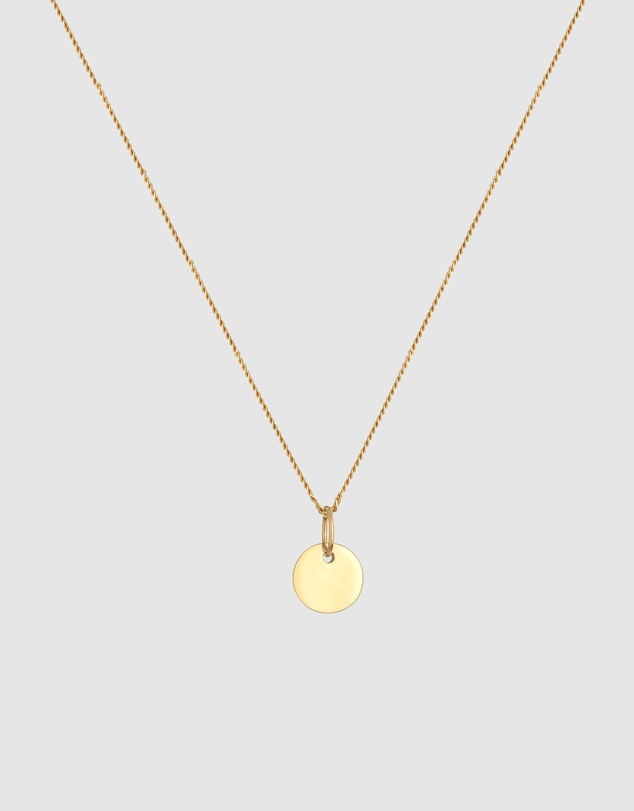 Women Necklace Coin Plate Curb Chain Classic in 585 Yellow Gold