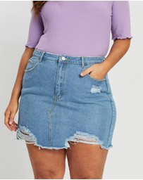 Missguided Curve - Ripped Denim Mini Skirt