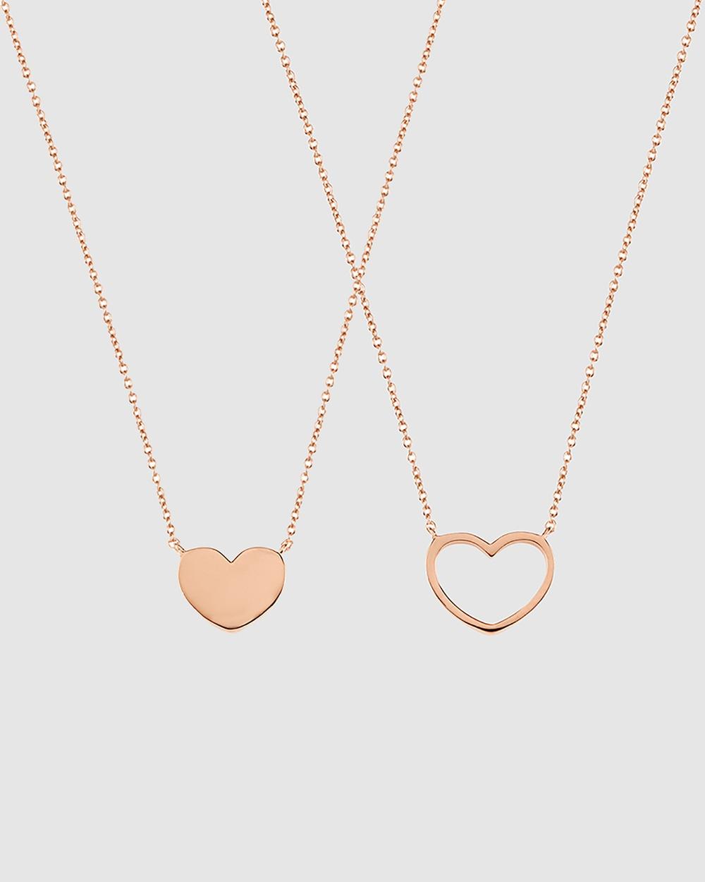 Secret Sisterhood Love Heart Friendship Necklaces Jewellery Rose Gold