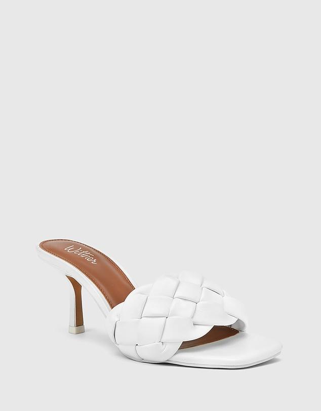 Women Combs Woven Leather Stiletto Heel Sandals