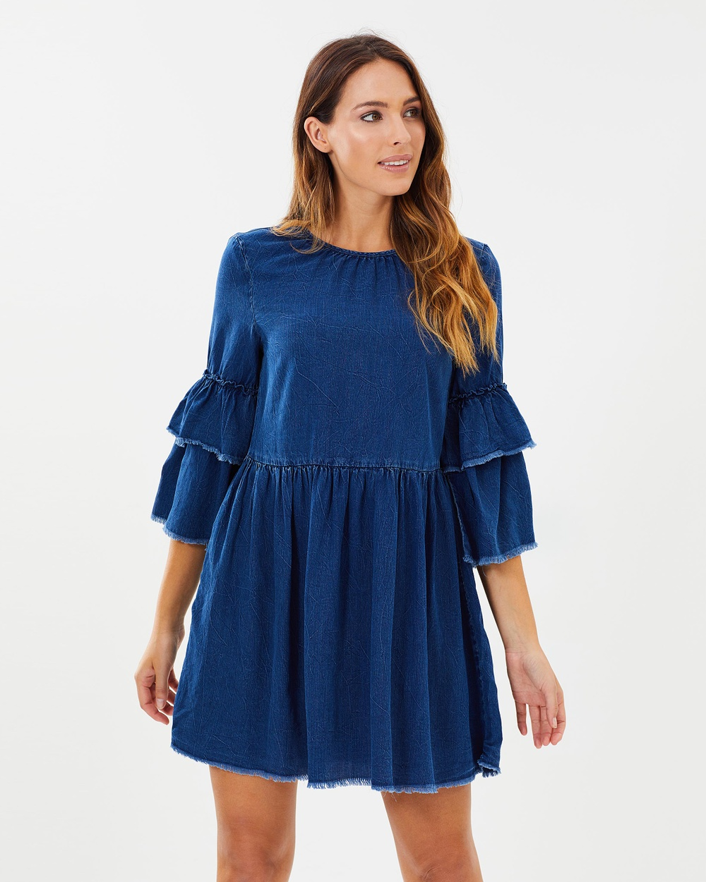 ONLY Flynn Raw Edge Denim Dress Dresses Dark Blue Denim Flynn Raw Edge Denim Dress