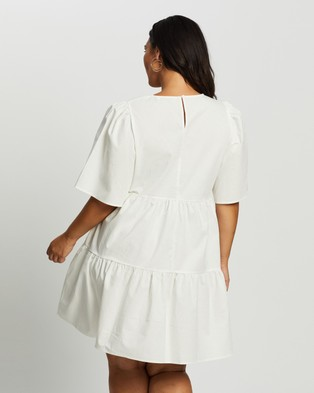 Atmos&Here Curvy Amora Cotton Mini Dress - Dresses (White)