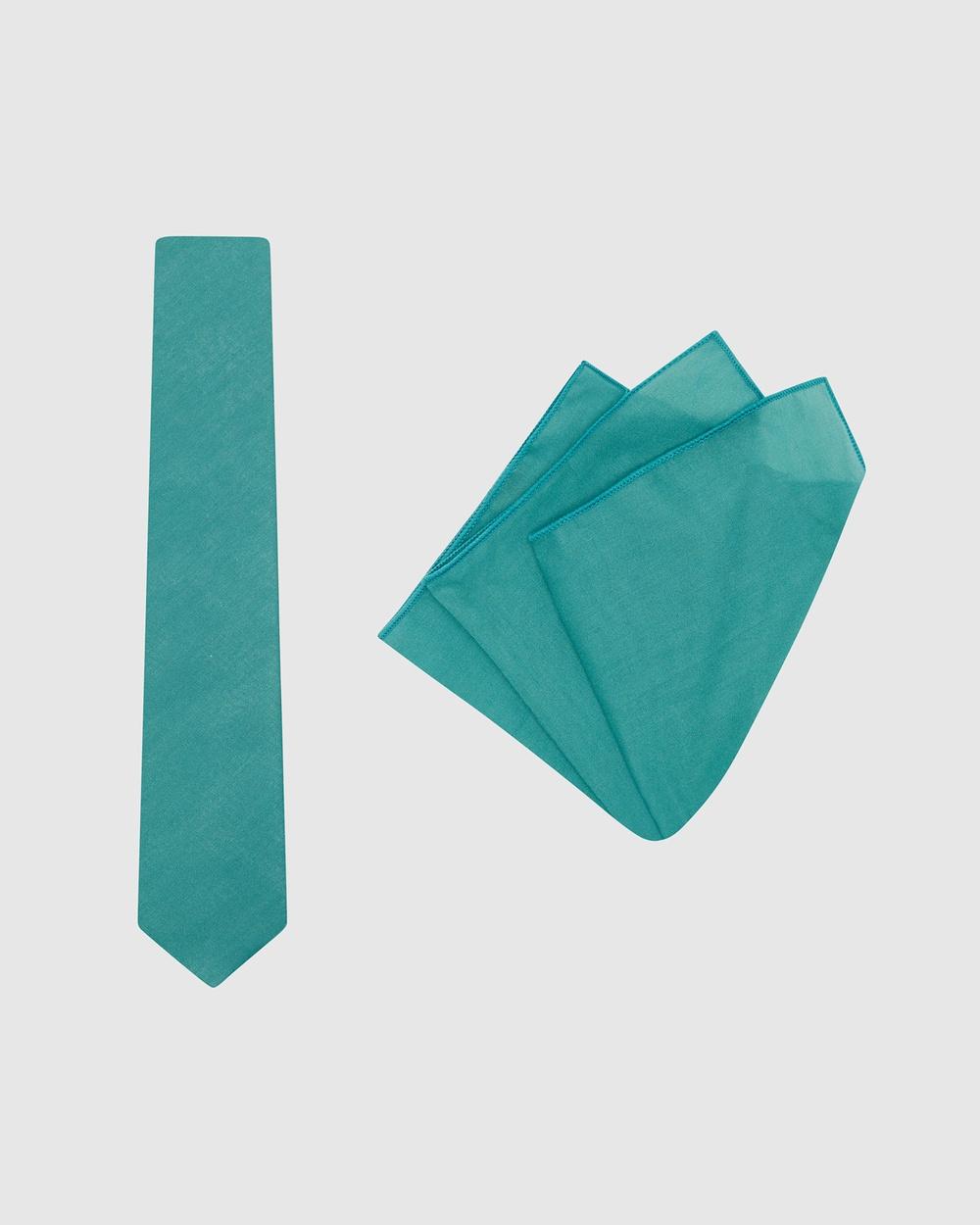 Buckle Plain Tie & Pocket Square Set Ties Teal Australia