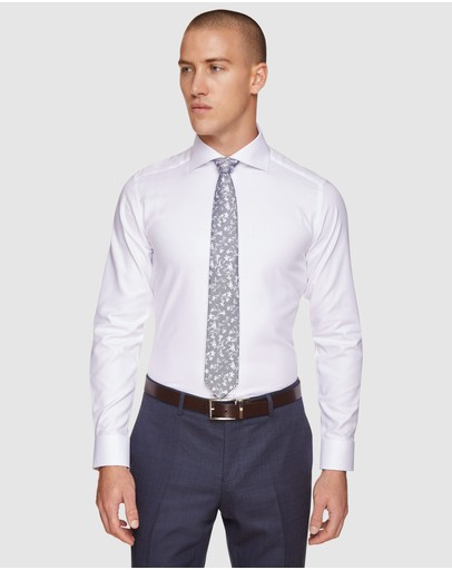 Oxford - Trafalgar White Textured Lux Shirt