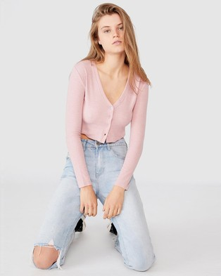 Cotton On - Rhys Button Through Rib Henley Long Sleeve Top - Cropped tops (Dark Rose Pink Marle) Rhys Button-Through Rib Henley Long Sleeve Top