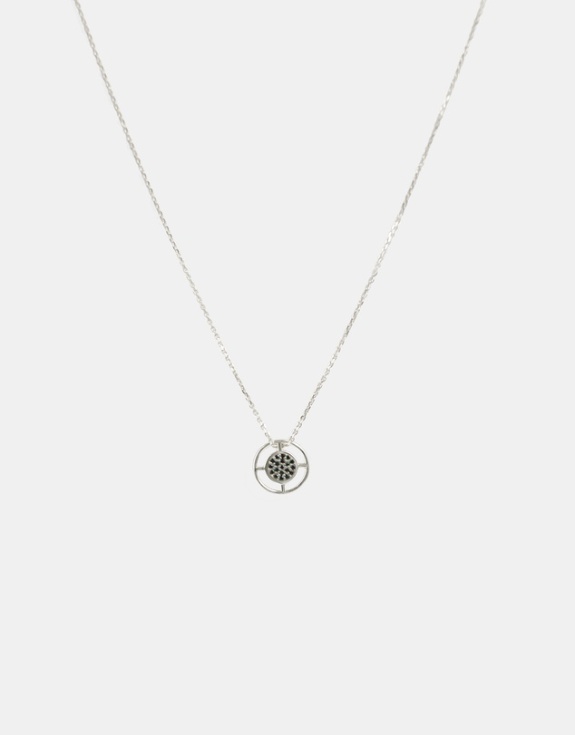 Women Compass Pendant Necklace Silver with Black