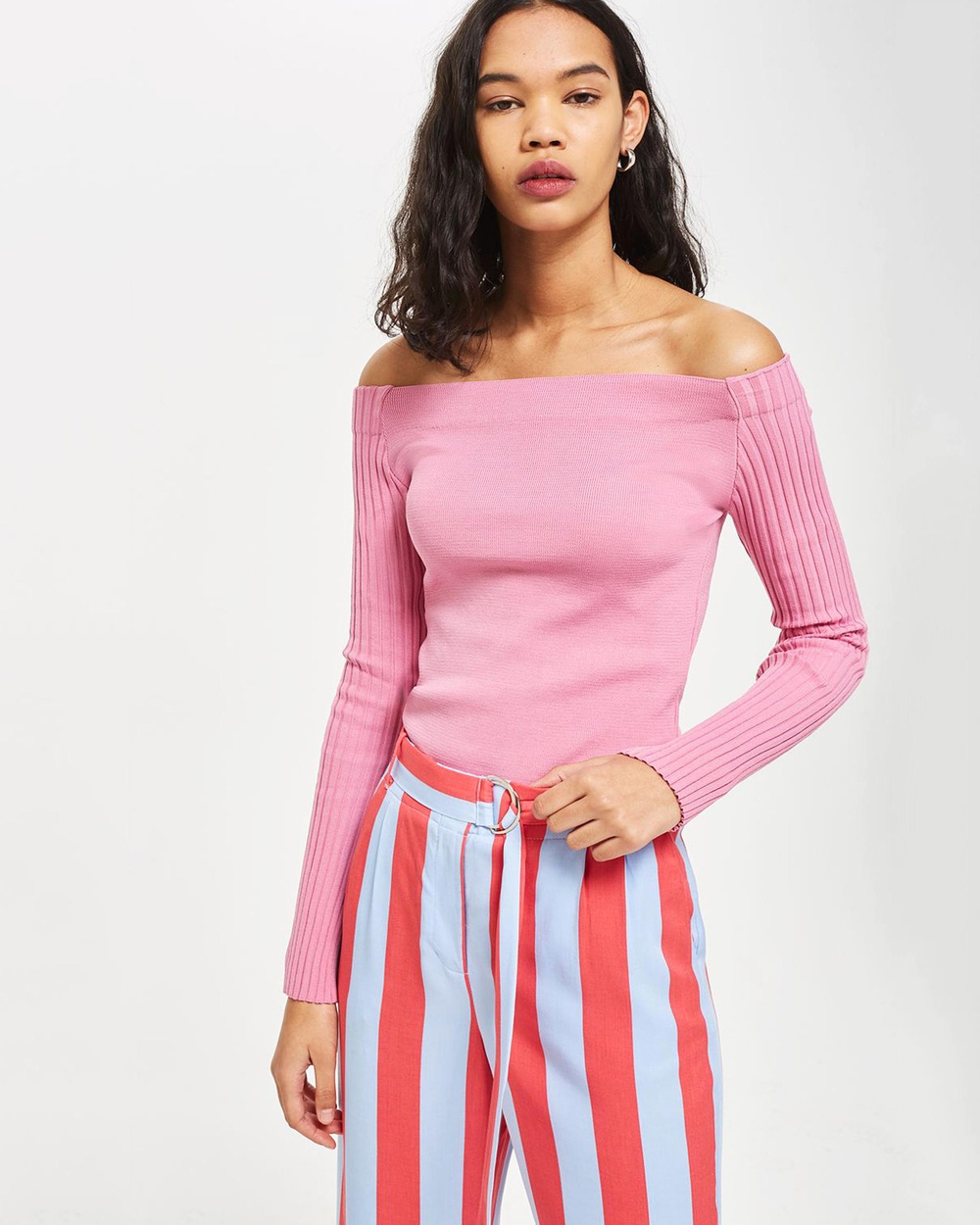 TOPSHOP Ribbed Sleeve Bardot Top Tops Pink Ribbed Sleeve Bardot Top