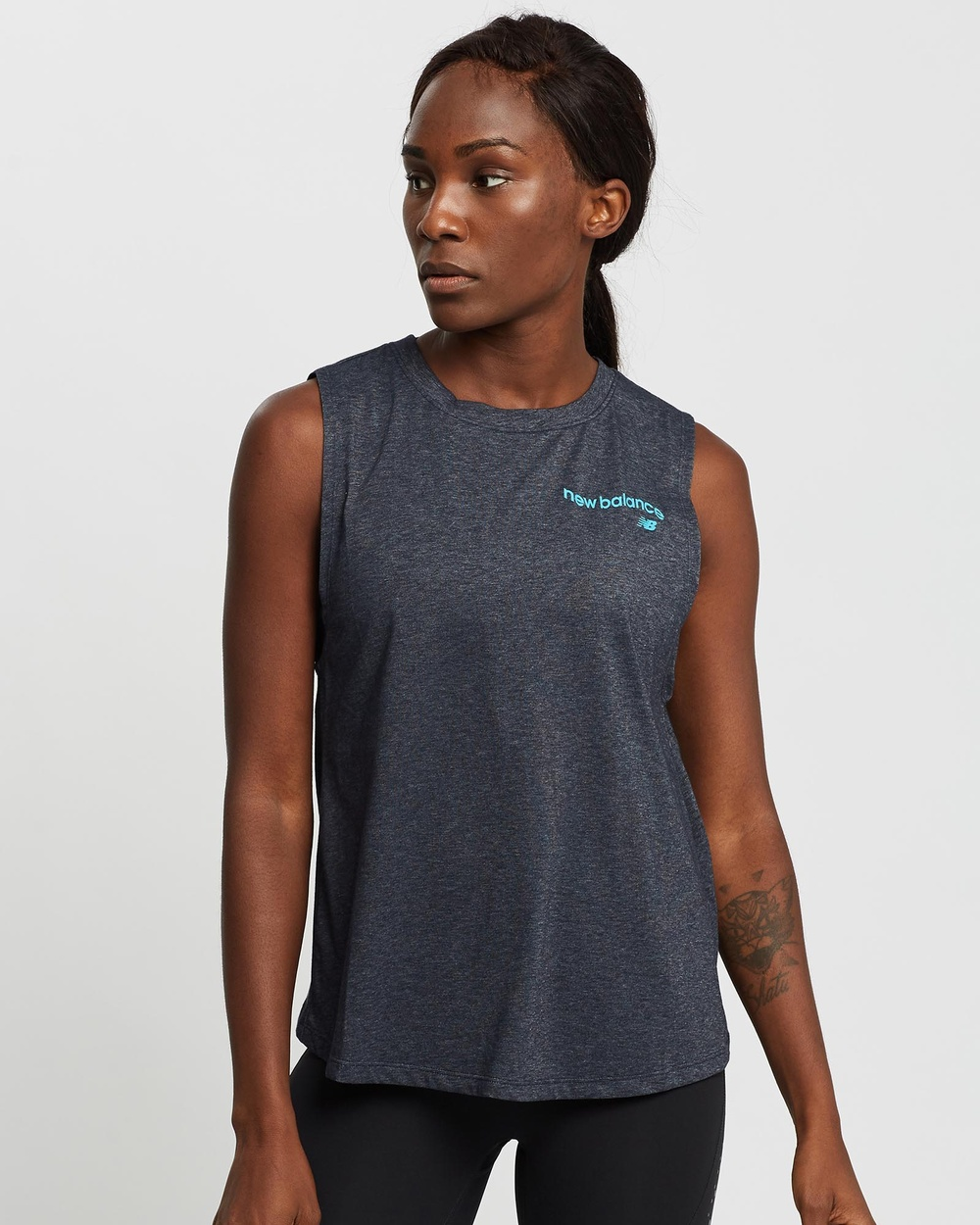 New Balance Relentless Cinched Back Graphic Tank Muscle Tops Eclipse Heather Australia