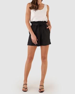 Amelius Sahara Linen Shorts Black