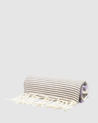 Tolu Australia Thin Turkish Towel - Towels (Brown and Purple)