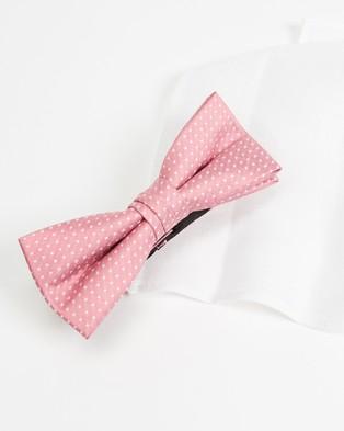 Tie Lab Bow Tie & Pocket Square - Pocket Squares (White & Pink)
