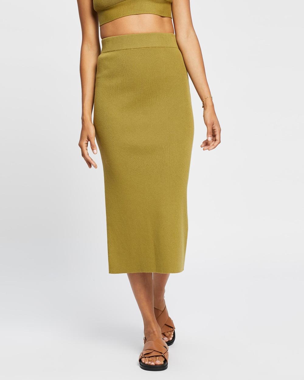 AERE Ribbed Midi Skirt Skirts Olive Oil