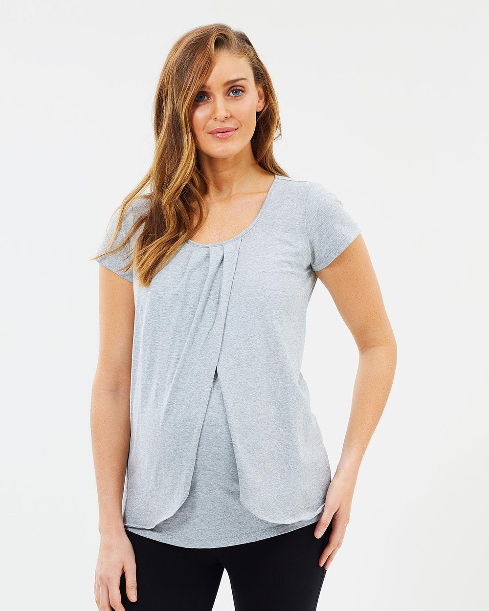 Photo of Angel Maternity Angel Maternity Maternity Petal Front Short Sleeve Nursing Top Tops Grey Maternity Petal Front Short Sleeve Nursing Top - For comfortable, versatile fashion that doesn & #39t compromise style during your pregnancy, look no further than Angel Maternity. Thoughtfully designed for during- and after-pregnancy, the Maternity Petal Front Short Sleeve Nursing Top is crafted from soft jersey with generous stretch. It features a petal wrap front atop a nursing panel to allow easy ac