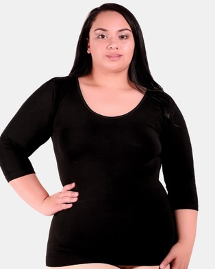 B Free Intimate Apparel Curvy Bamboo 3 4 Sleeve Top - Tops (Black)