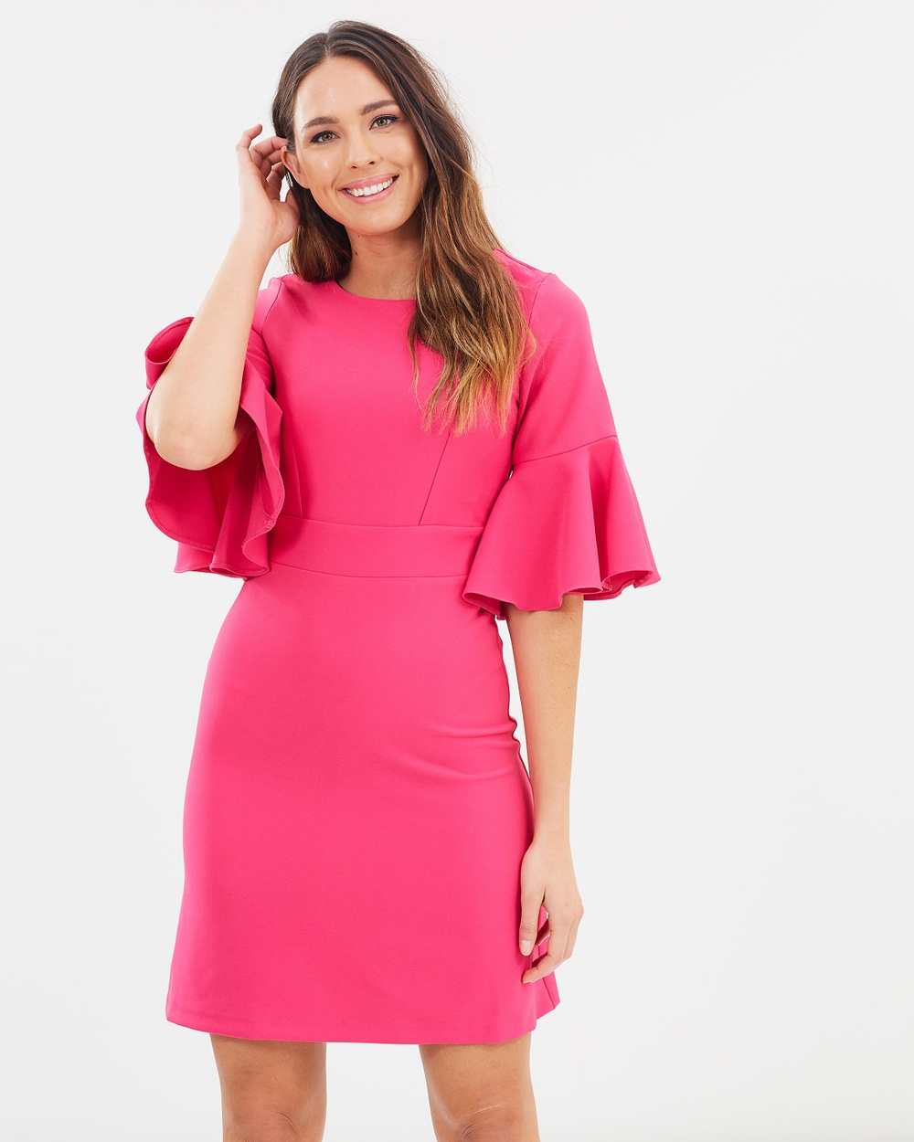 Closet London Tie Back Ruffle Dress Dresses Pink Tie Back Ruffle Dress