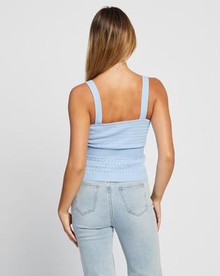Atmos&Here Bree Pointelle Knit Top - Tops (Cornflower Blue)